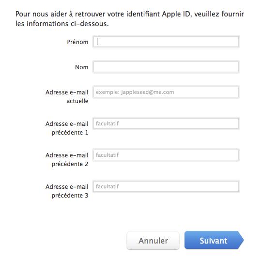 comment retrouver mot de passe de l'identifiant apple