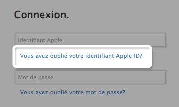 comment retrouver mon identifiant apple