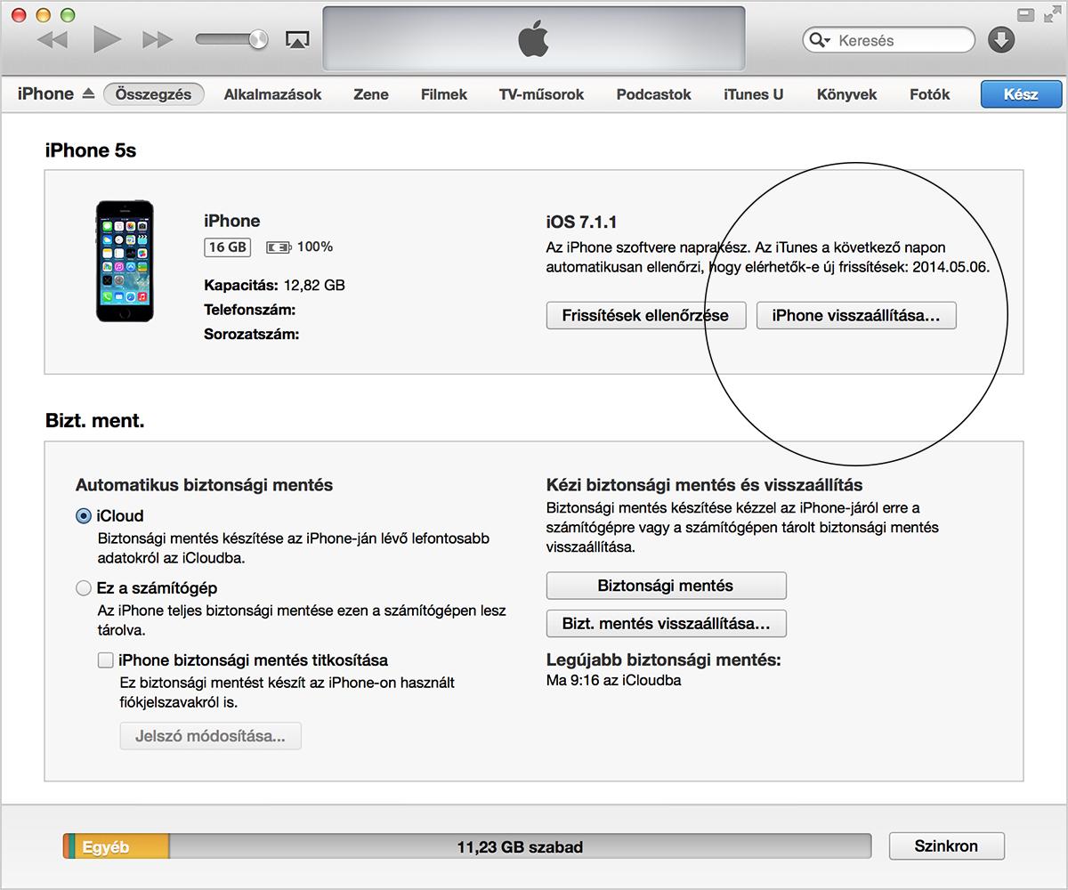 Az iPhone visszaállítása az iTunes alkalmazásban