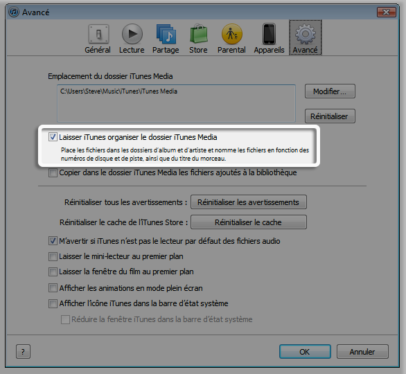 Option Laisser iTunes organiser le dossier iTunes Media cochée