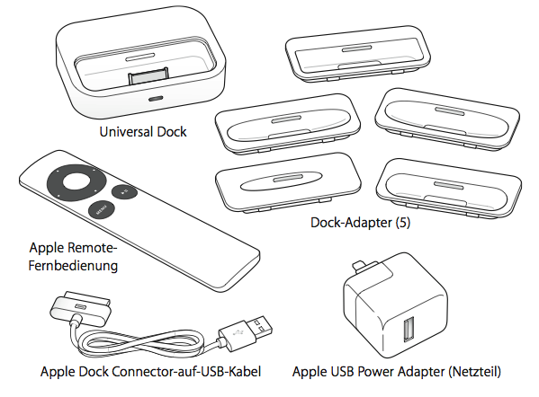 Apple Universal Dock und Apple Remote