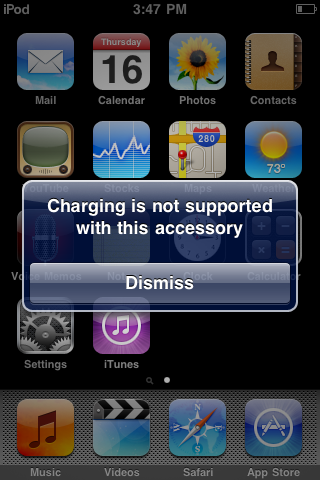 Charging is not supported with this accessory – flyingpenguin