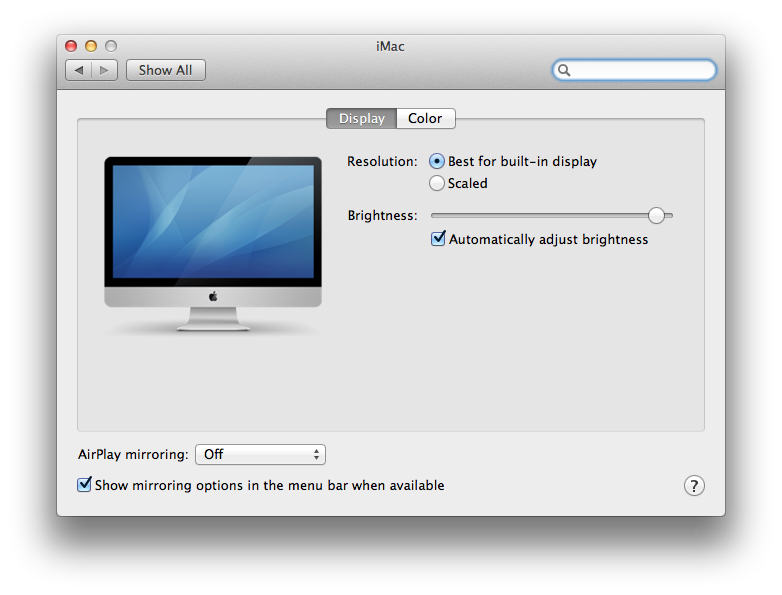 Mac System Preferences Displays