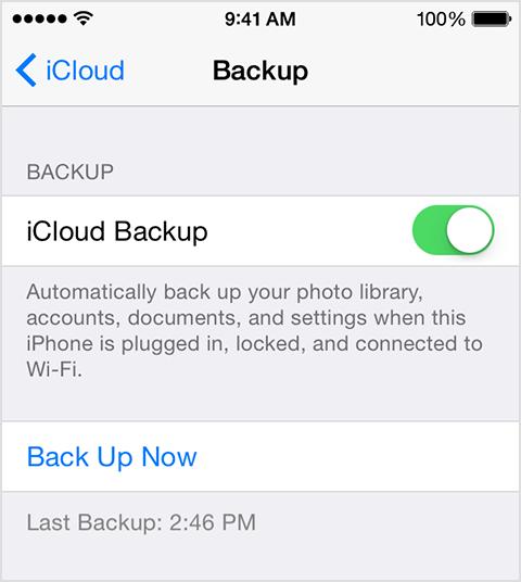 Impostazioni del backup iCloud