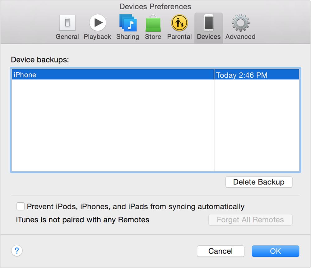 Backup in Preferenze Dispositivi