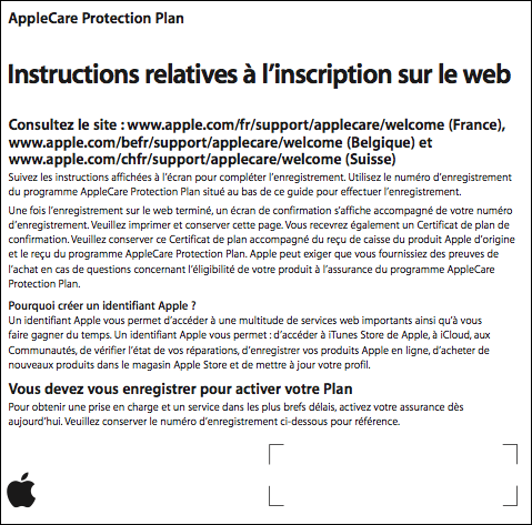 Instructions relatives à l'enregistrement sur le Web de l'AppleCare Protection Plan