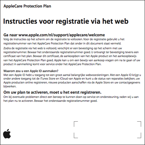 AppleCare Protection Plan: instructies voor de webregistratie