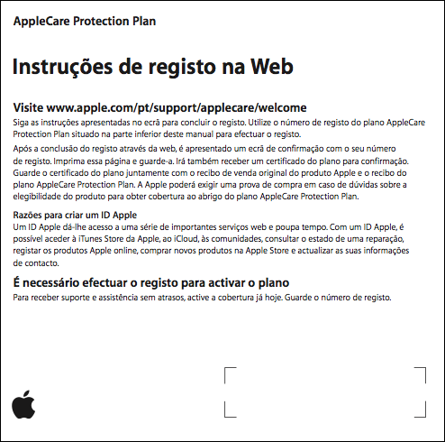 Instruções de registo web do AppleCare Protection Plan