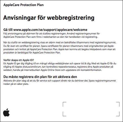 AppleCare Protection Plan instruktioner för webbregistrering