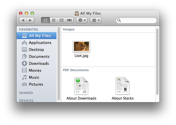 Finder folder window
