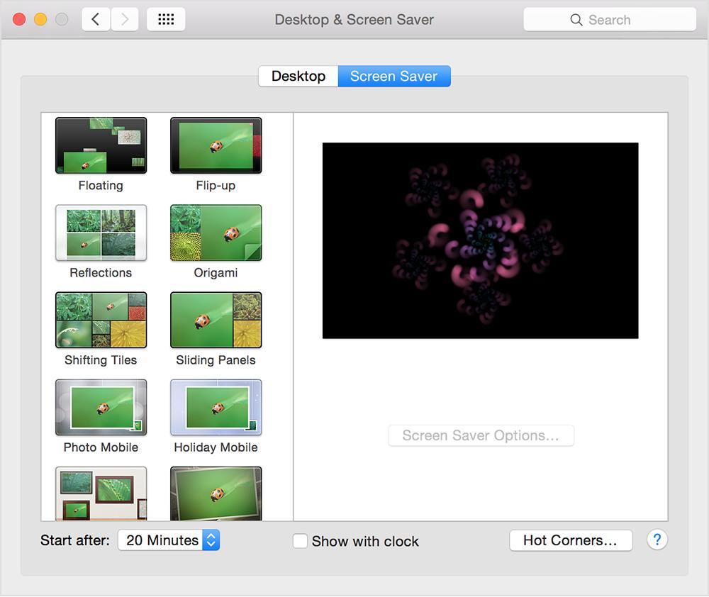 Mac Basics: Display a screen saver when you're not using ...