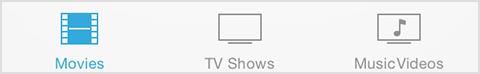 Barre de menus de l'application Vidéos