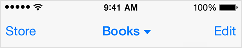 Barre de menus d'iBooks