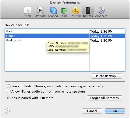 iTunes Devices showing iPad Wi-Fi + 3G info