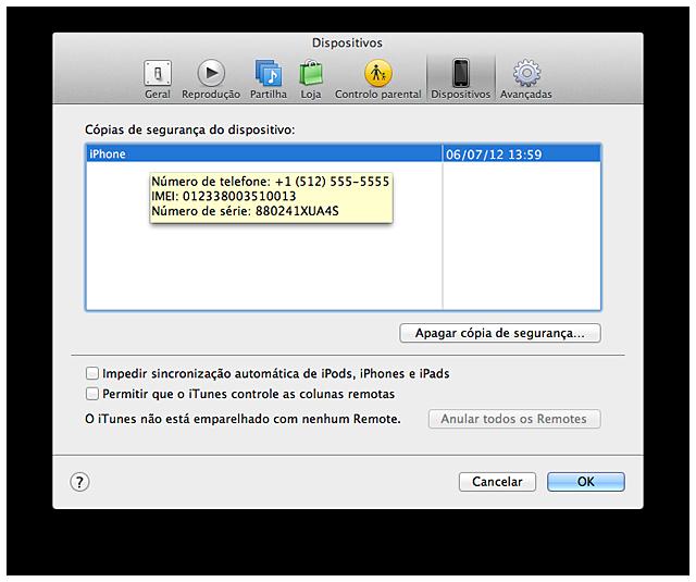 Dispositivos iTunes com informações de modelos de iPad Wi-Fi + 3G