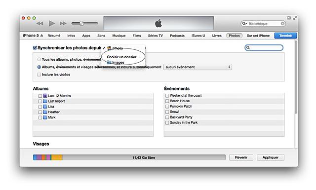 Itunes synchronisation de photos assistance apple for Reduire fenetre mac