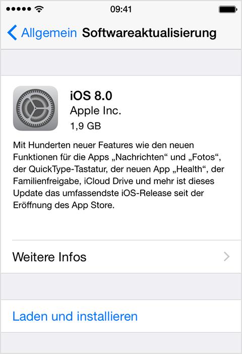 Bildschirm 'Softwareaktualisierung' in iOS
