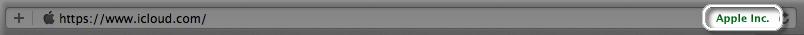 Safari での正当な Apple のURL