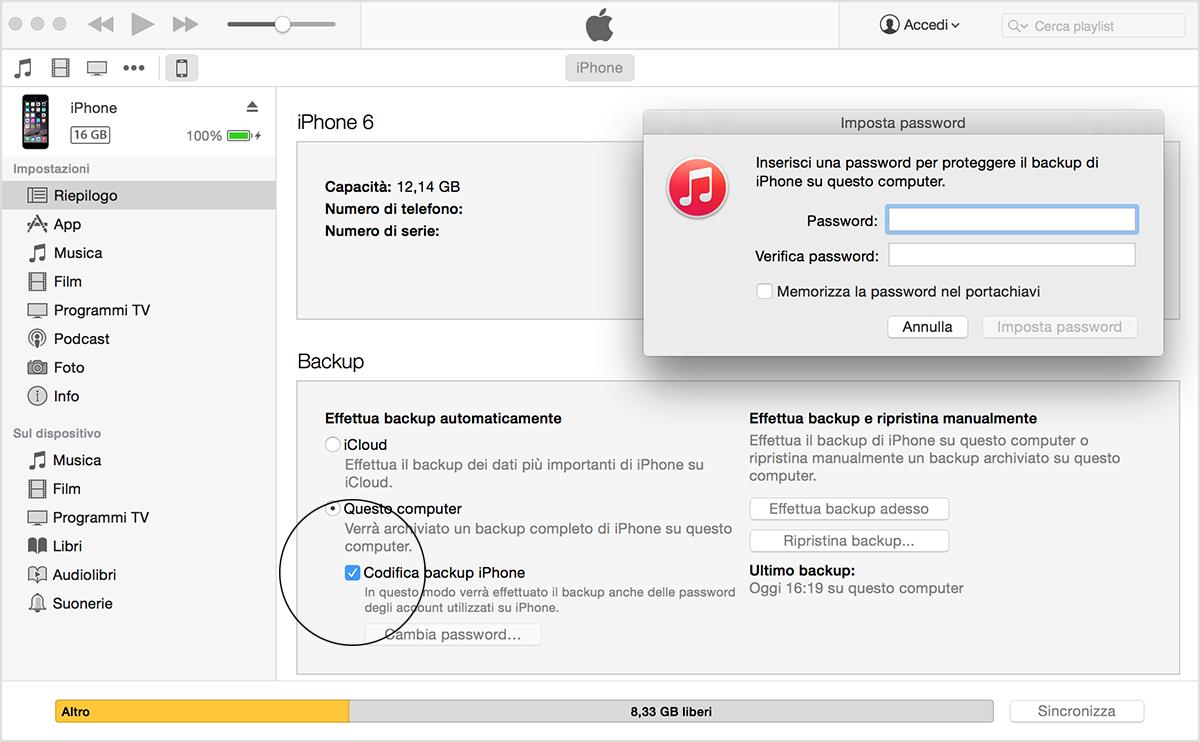 Creazione ed eliminazione dei backup di iphone ipad e for Cambiare il percorso dei backup del tuo iphone