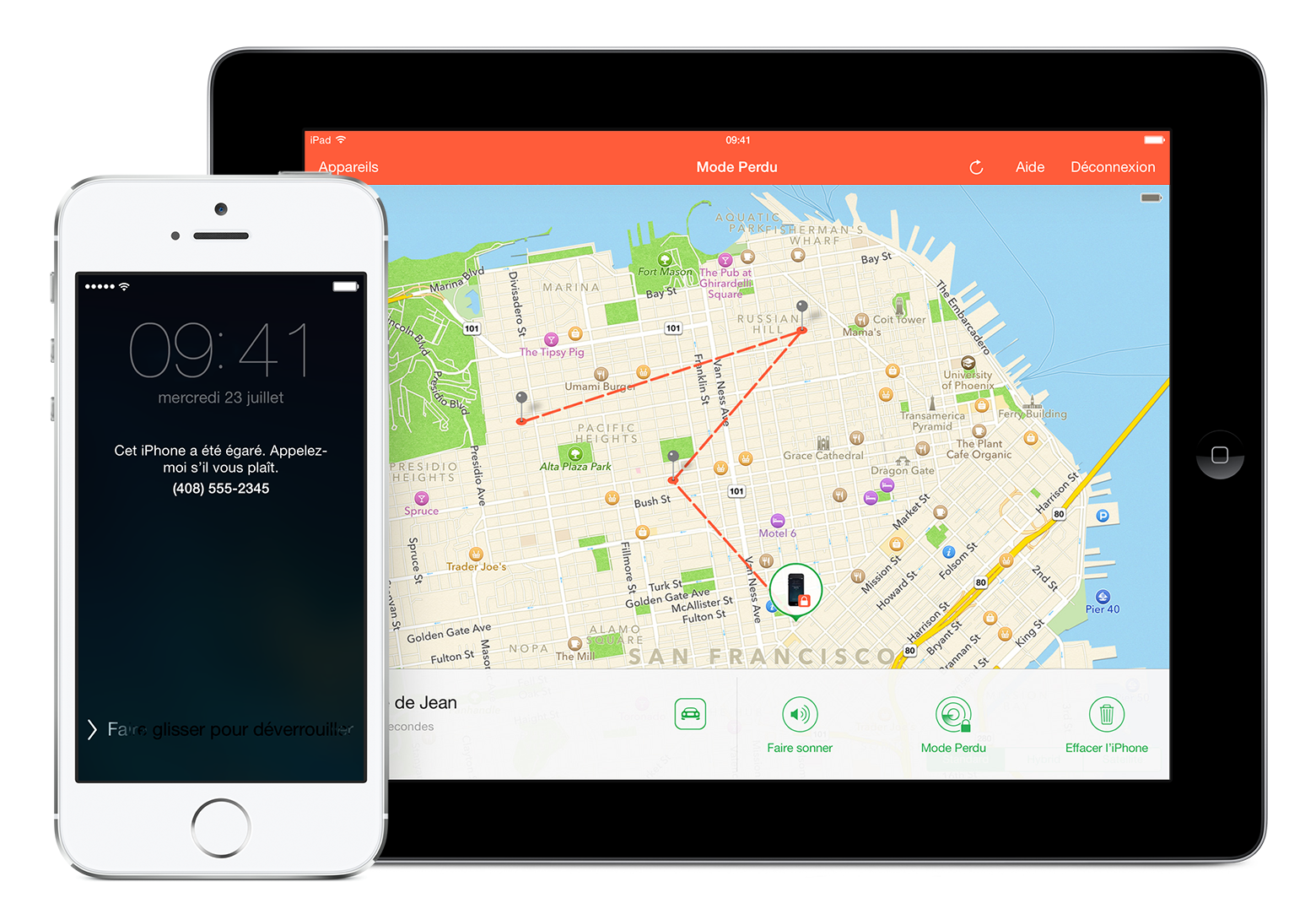 iPhone égaré bloqué et suivi de l'emplacement de ce dernier via l'application Localiser mon iPhone sur un iPad