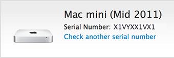 Número de modelo de Mac Mini, como indica la herramienta de número de serie