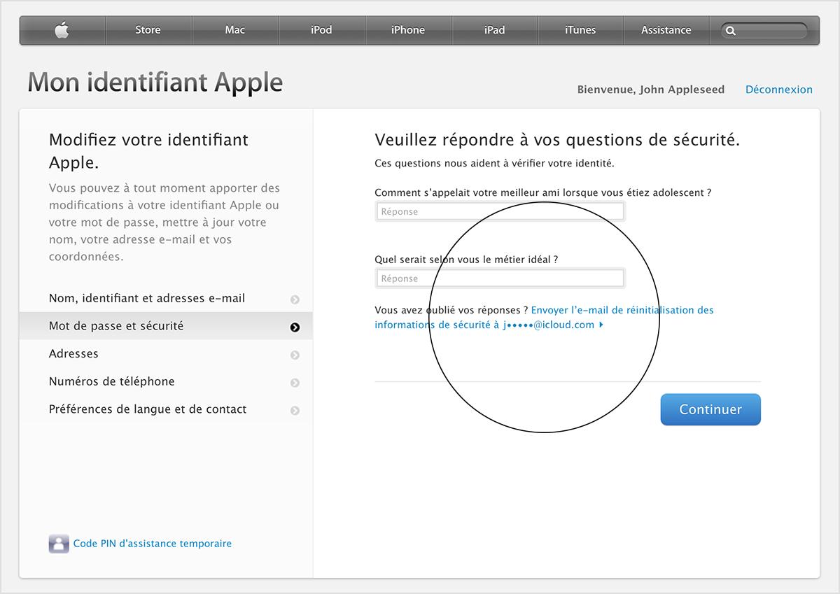 comment retrouver reponse secrete apple