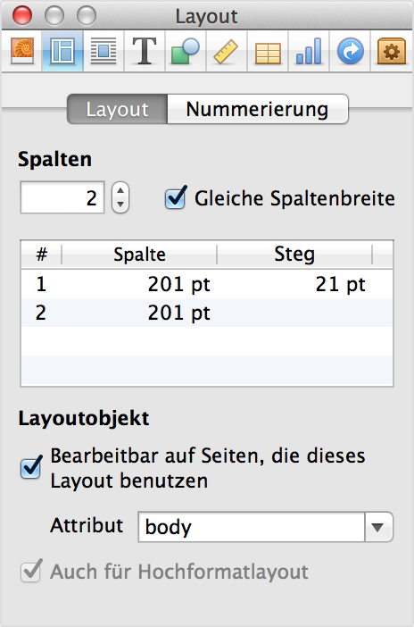 """Informationen zu Layouts"" in iBooks Author"