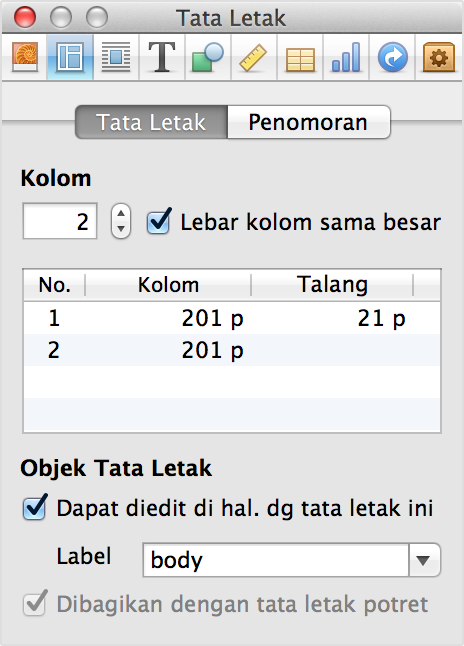 Inspektor Tata Letak di iBooks Author