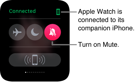 The Settings glance where you can see the connection status of your watch and iPhone and set Airplane mode, Do Not Disturb, and Mute. You can also ping your iPhone. Mute is selected.