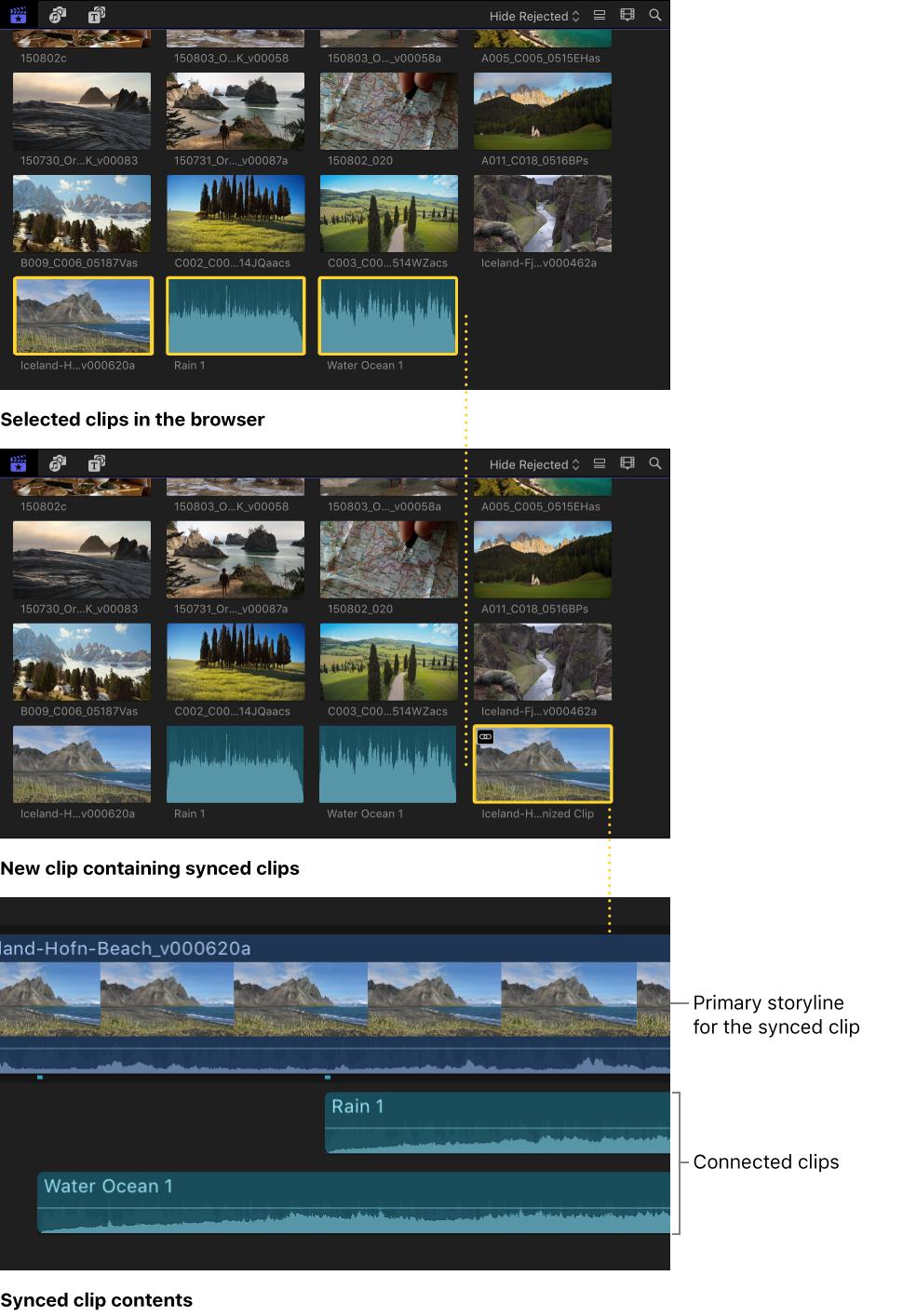 Final Cut Pro X: Synchronisieren von Audio und Video