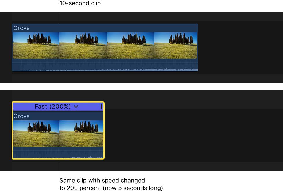 Final Cut Pro X: Ändern des Abspieltempos von Clips
