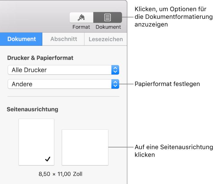 Pages Für Mac Festlegen Des Papierformats Und Der Ausrichtung In