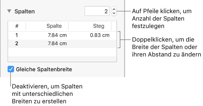 Pages für Mac: Formatieren von Textspalten in einem Pages