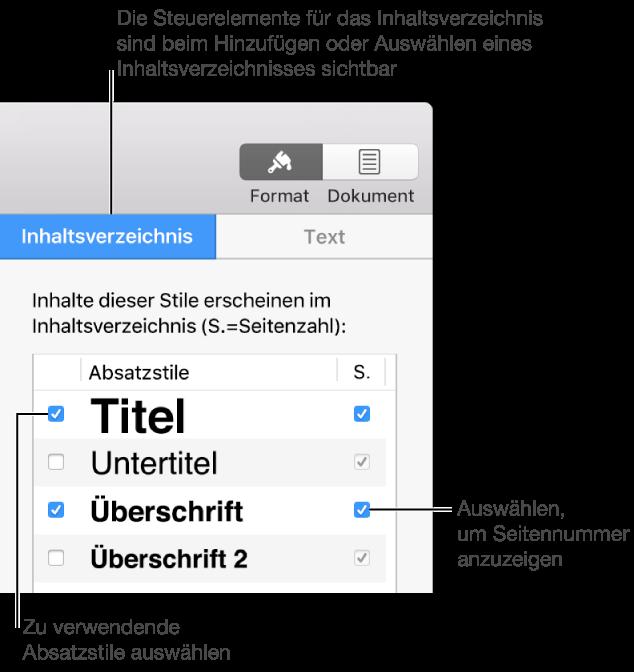 Pages Für Mac Hinzufügen Eines Inhaltsverzeichnisses In Einem Pages