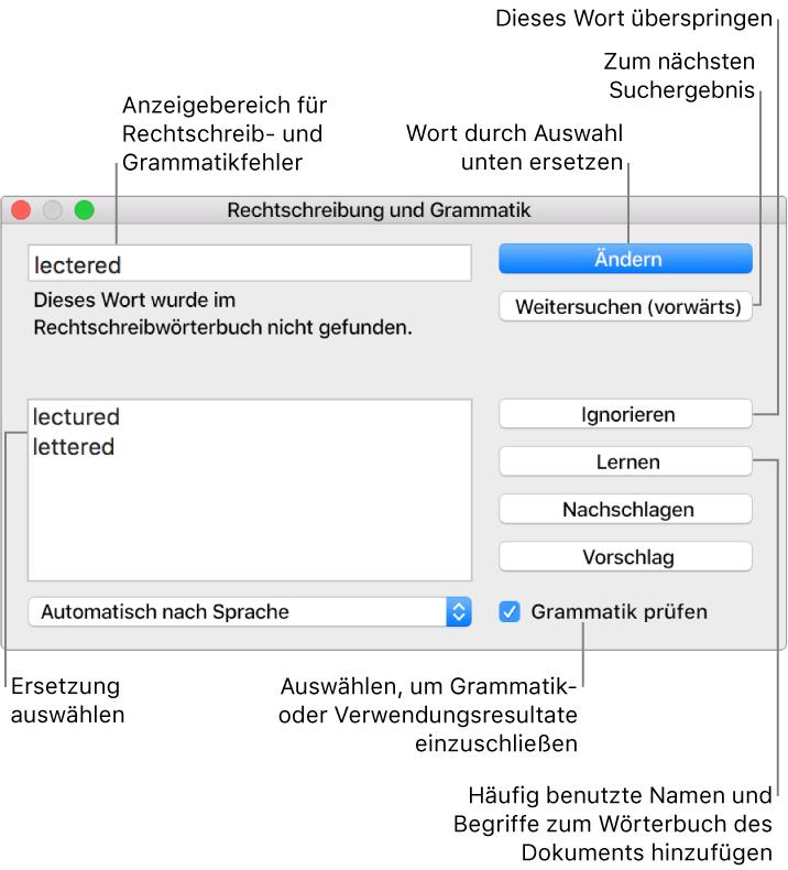 Pages Für Mac Rechtschreibprüfung In Einem Pages Dokument