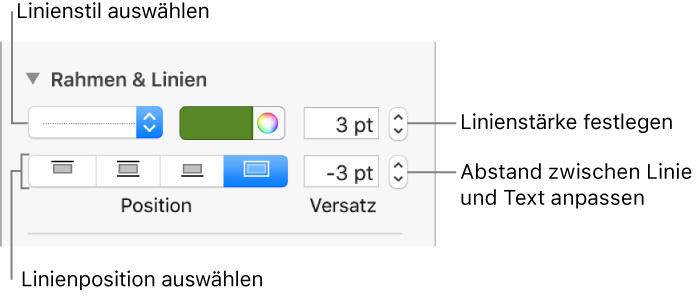 Pages für Mac: Hinzufügen von Rahmen und Linien in Pages
