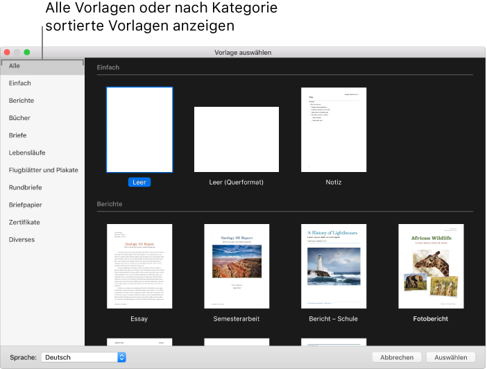 Pages Für Mac Verwenden Von Pages Vorlagen