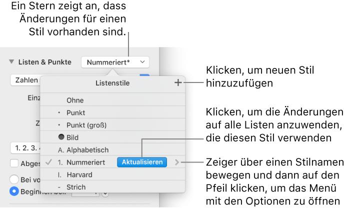 Pages für Mac: Formatieren von Listen in einem Pages-Dokument