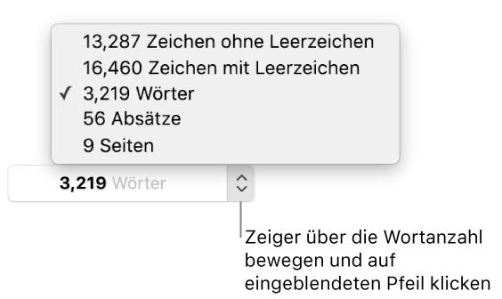 Pages für Mac: Anzeigen der Wortanzahl und anderer ...