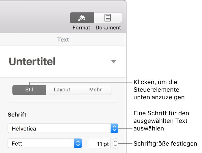 Pages Für Mac Festlegen Der Standardschrift Für Pages Dokumente