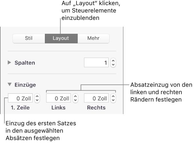 Pages für Mac: Anpassen von Absatzrändern in Pages