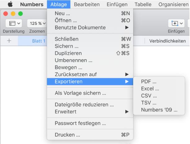 Numbers für Mac: Exportieren einer Numbers-Tabellenkalkulation als ...