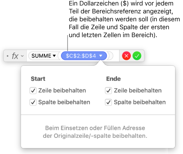 Numbers für Mac: Berechnen von Werten mithilfe der Daten in ...