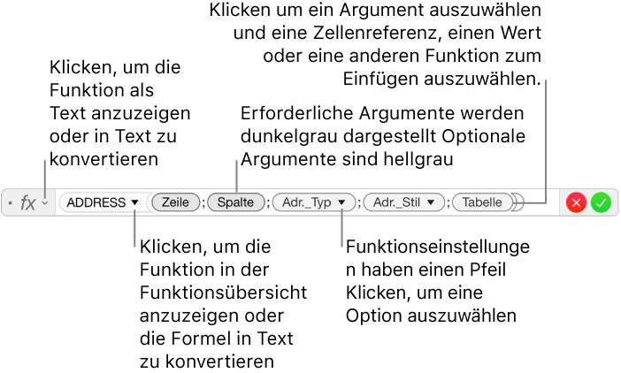 Numbers für Mac: Berechnen von Werten mithilfe der Daten in