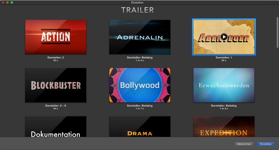 iMovie für Mac: Erstellen eines Trailers