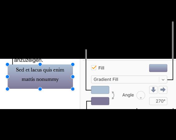 Pages für iCloud: Ein Textfeld mit Farbe oder einem Bild füllen