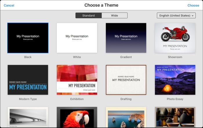 Keynote für iCloud: Eine Präsentation erstellen