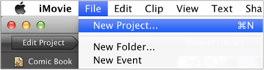 Image of File menu with New Project selected.