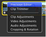 Image of the Action pop-up menu with Precision Editor selected.
