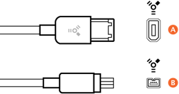 Image of FireWire cable connectors.